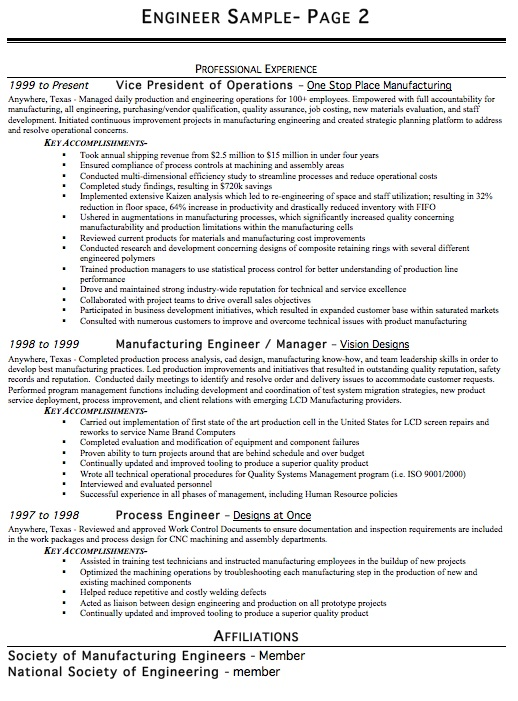 Resume Writing Example For An Engineer Using The Chronological Resume  Layout. View Our Engineer Resume Examples U0026 Samples, Templates And Resume  Writing ...