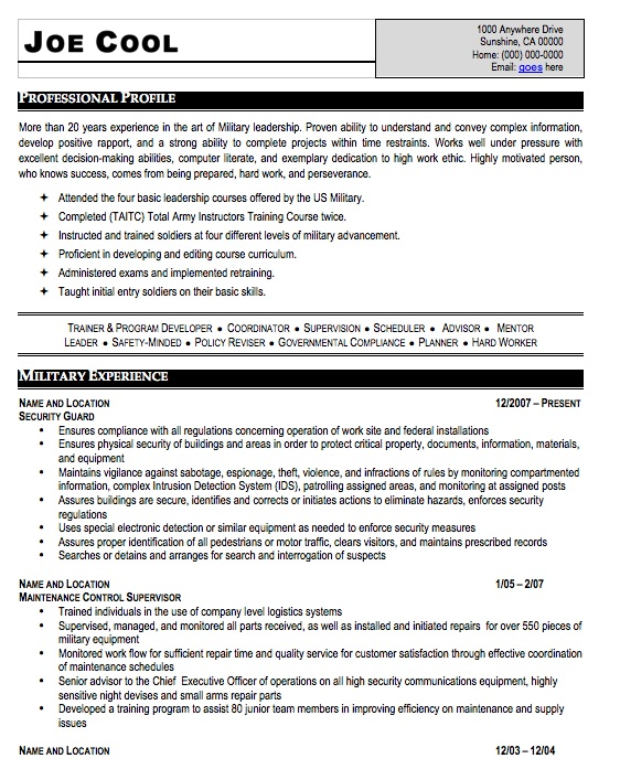 Militarycom Careerperfect Management Resume After Professional