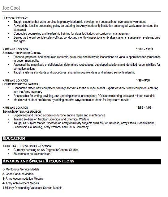 Military Resume Sample Free Resume Template Professional